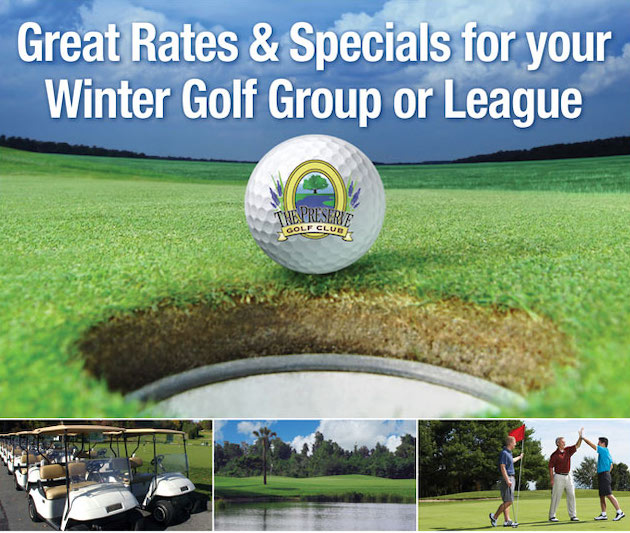 Photo collage with text that reads Bring Your League to The Preserve and features closeup of Northdale Logo golf ball, a line of golf carts, a golf course fairway with flag stick in distance and three male golfers celebrating on the green