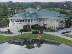 Aerial view of the clubhouse at The Preserve Golf Club